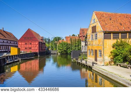 Aarhus, Denmark - September 01, 2021: Little Pond With Colorful Half Timbered Houses In The Old Town
