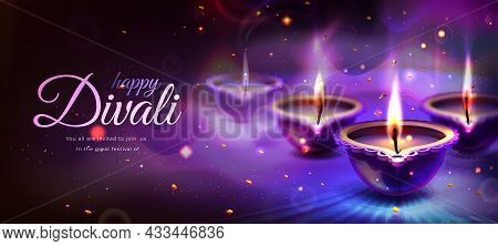 Realistic Poster Of Happy Diwali Holiday With Glowing Diya Candles On Purple Background. Traditional