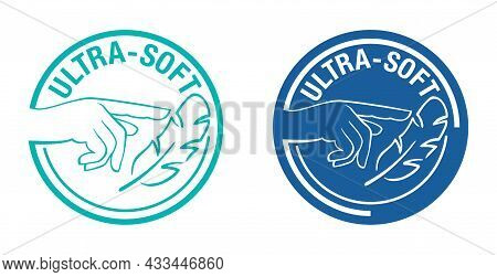 Ultra Soft Properties Icon For Toilet Paper, Napkins, Towel Or Woman Hygiene. Isolated Vector Stamp