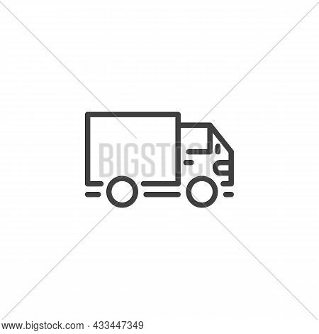 Lorry, Shipping Truck Line Icon. Linear Style Sign For Mobile Concept And Web Design. Delivery Truck