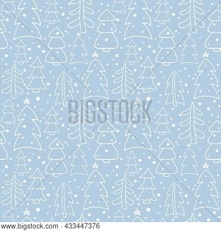 Winter Seamless Pattern. Christmas Trees In Forest. Blue Abstract Geometric Background With White Fi