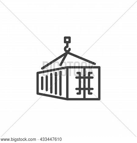 Cargo Container Loading Line Icon. Linear Style Sign For Mobile Concept And Web Design. Shipping Con