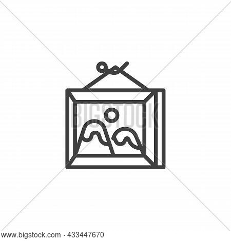Picture Frame Line Icon. Linear Style Sign For Mobile Concept And Web Design. Picture With Mountains