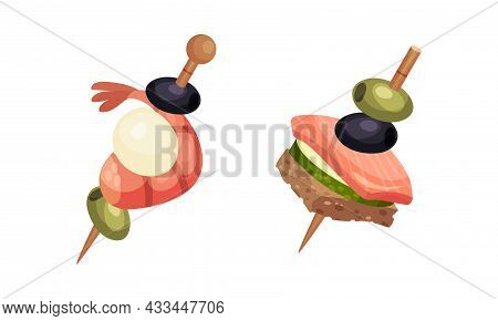 Canape Or Finger Food Skewered On Cocktail Stick As Small Individual Portion Vector Set