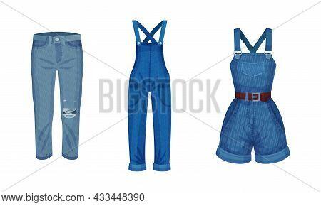 Fashion Denim Clothes Set. Trendy Female Jeans, Overalls, Jumpsuit Vector Illustration