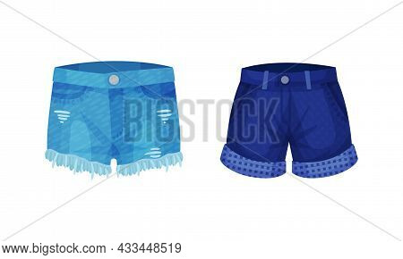 Fashion Denim Clothes Set. Trendy Female Shorts Vector Illustration