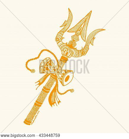 Drawing Or Sketch Of Lord Shiva Weapon Trident Or Trishul With Damru Outline Editable Illustration