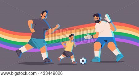 Male Parents Playing Football With Little Son Gay Family Transgender Love Lgbt Community Concept