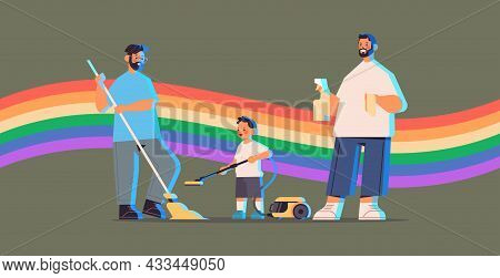 Male Parents Cleaning House With Little Son Gay Family Transgender Love Lgbt Community Concept