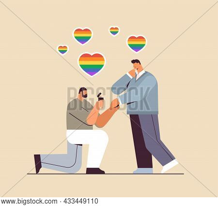Gay Proposing To Man Down On Knee With Engagement Ring Transgender Love Lgbt Community Concept