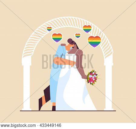 Newlywed Lesbian Couple With Flowers Kissing Near Wedding Arch Transgender Love Lgbt Community Weddi