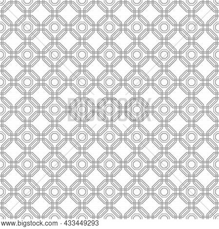 Geometric Abstract Vector Octagonal Light Silver Background. Geometric Abstract Ornament. Seamless M