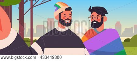 Gay Couple With Rainbow Flag Taking Selfie Photo On Smartphone Camera Transgender Love Lgbt Communit