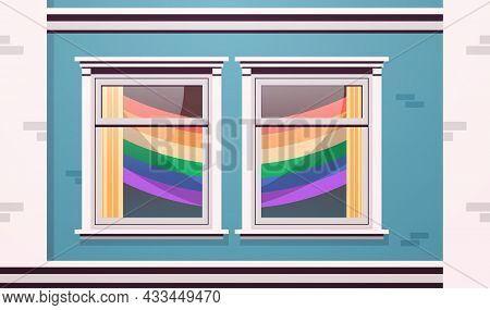 House Facade Windows Decorated With Lgbt Rainbow Flags Lesbian Gay Parade Transgender Love Concept
