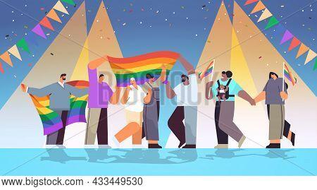 Mix Race People Celebrating Lesbian Gay Pride Festival Transgender Love Lgbt Community Concept