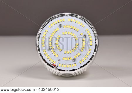 Inside Of Led Lamp With Many Small Light Emitting Diodes With Lid Taken Off