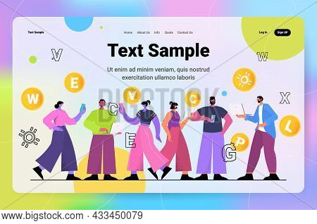 Businesspeople Mining Different Virtual Money Coins On Laptops Cryptocurrency Exchange Banking Trans