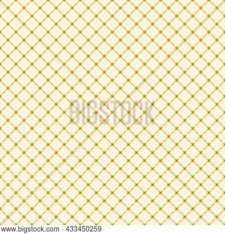 Geometric Vector Grid. Seamless Yellow And Orange Abstract Pattern With Diagonal Lines. Modern Backg