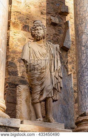 Roman Amphitheatre In Merida, Augusta Emerita In Extremadura, Spain. Roman City - Temples, Theatres,