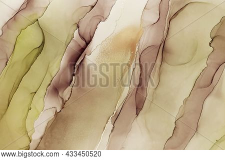 Abstract Hand Painted Alcohol Ink Texture. Green And Violet Color Creative Background For Your Desig