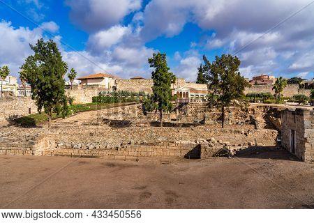 Arab Fortress Alcazaba Near Guadiana River In Merida, Spain, Region Of Extremadura. Built In 836 By