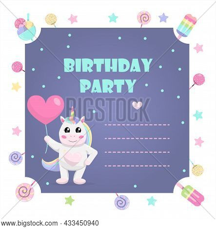 Cute Vector Unicorn With A Balloon. Invitation For Kids Party. A Set Of Gifts, Garlands And Sweets F