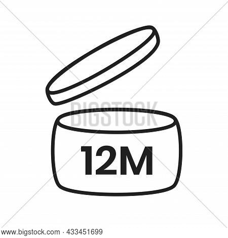 12m Period After Open Pao Icon Sign Flat Style Design Vector Illustration Isolated On White Backgrou
