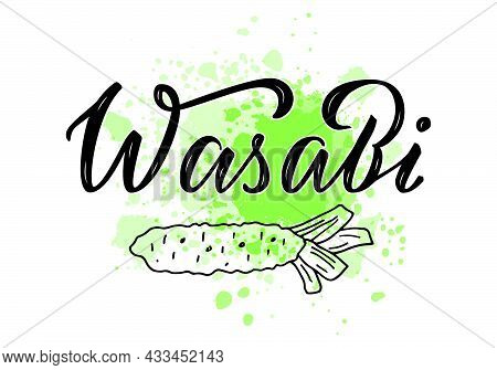 Vector Illustration Of Wasabi Lettering For Packages, Product Design, Banner, Spice Shop  Price List