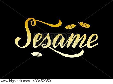 Vector Illustration Of Sesame Lettering For Packages, Product Design, Banner, Spice Shop  Price List