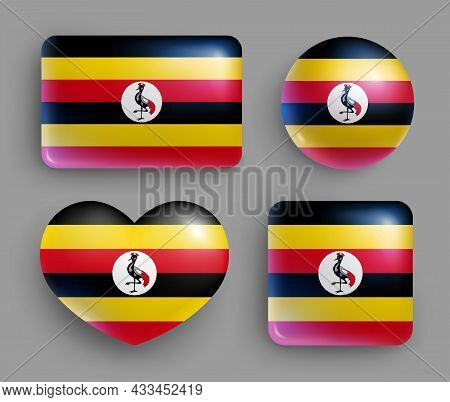Set Of Glossy Buttons With Uganda Country Flag. Eastern Africa Republic National Flag, Shiny Geometr