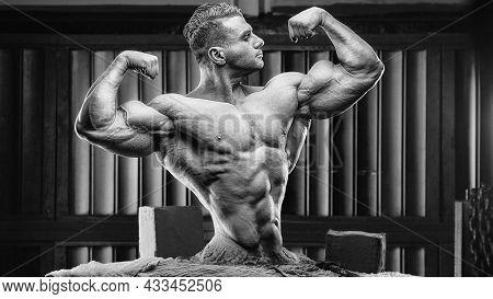 Athletic Bodybuilder Statue On The Sculptor's Desk