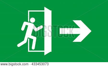 Emergency Exit. Sign Of Fire Exit. Icon For Safety Escape. White Door, Arrow And Human On Green Back