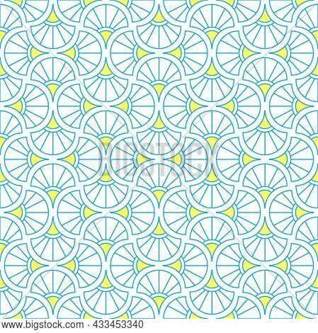Abstract Geometric Pattern. A Seamless Background. Blue And Yellow Ornament. Graphic Modern Pattern.