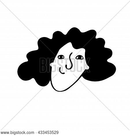 Funny Portrait Of Positive Woman, Girl With Short Curly Black Hair In Doodle Style Isolated On White