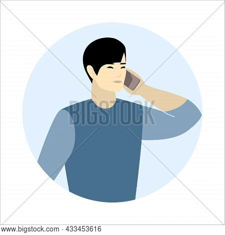 Asian Man Call Mobile Phone Working As Helpdesk Or User Support Operator. Guy Talking Cellphone