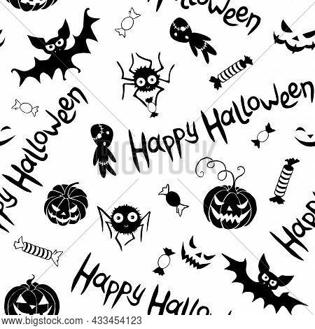 Happy Halloween-seamless Pattern Of Traditional Holiday Symbols-pumpkin, Jack Lantern, Zombie, Bat,