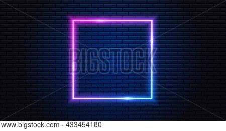 Neon Frame For Your Design. Neon Lights Square Sign. Abstract Neon Background For Signboard Or Billb