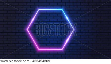 Neon Frame For Your Design. Neon Hexagon Lights Sign. Abstract Neon Background For Signboard Or Bill