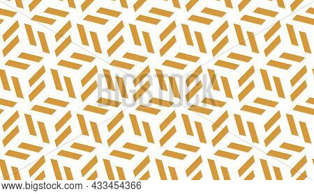 Abstract Geometric Pattern. A Seamless Background. White And Gold Ornament. Graphic Modern Pattern.