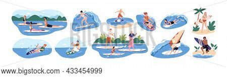 Water Sports Set. People Riding, Floating And Surfing On Boards On Waves In Summer. Surfers And Othe