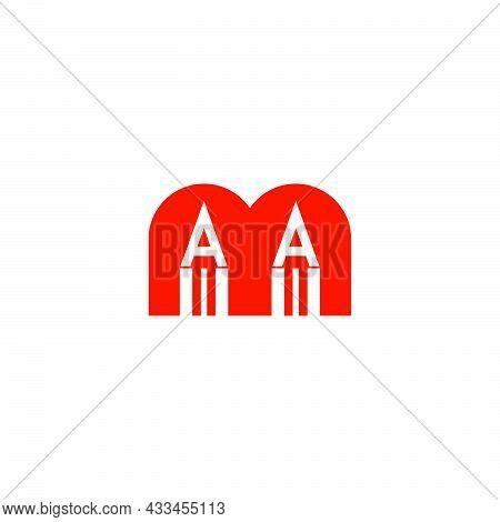 Letter M Pencil Shape Education Concept Simple Geometric Logo Vector