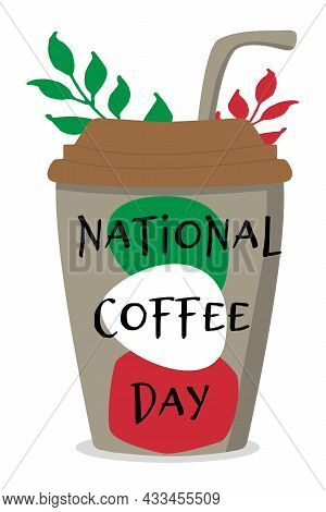 National Coffee Day Italy. Glass With A Straw Decorative Spots In The Color Of The Italian Flag. Vec