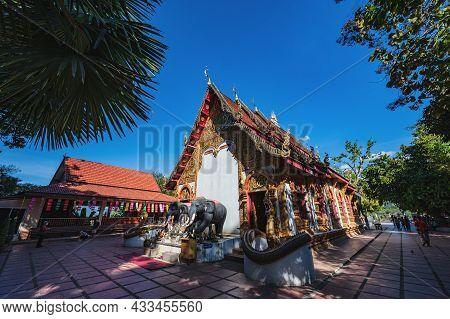 Nan.thailand- 17 Dec 2020:unacquainted People Walking In Wat Phuket Pua District Nan.phuket Temple I