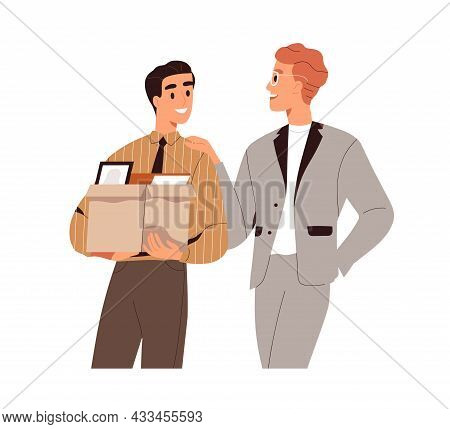 New Job Concept. Happy Office Worker Starting Career, Arriving With Box To Workplace On First Day. C