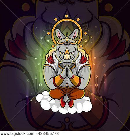 The Meditation Rhinoceros Esport Logo Design Of Illustration