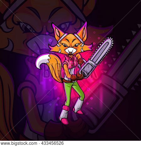 The Girly Fox With The Chainsaw Esport Mascot Design Of Illustration