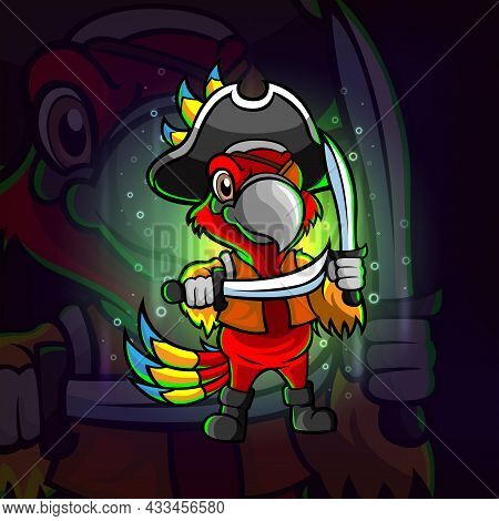 The Pirates Parrot Esport Logo Design Of Illustration