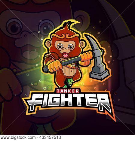 The Monkey Tanker Fighter Esport Mascot Design Of Illustration