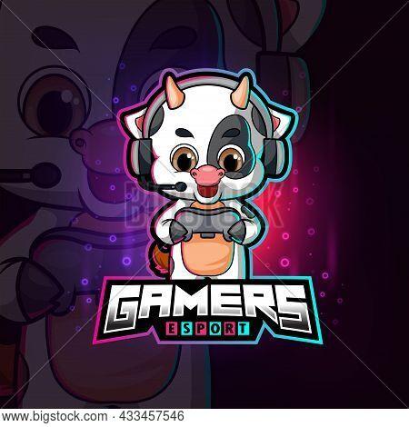 The Cute Gamer Cow Esport Logo Design Of Illustration
