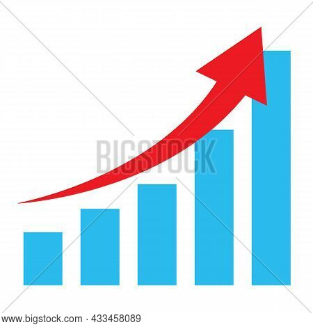 Growth Diagram With Red Arrow Going Up Icon On White Background. Business Growth Sign. Success Busin